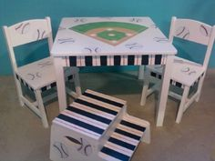 Batter Up! New boys baseball themed table and chairs set. & BOLD chevron FUN hand painted zoo theme table and chairs for kids ...