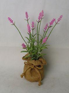 lavender in paper mache bag with strap