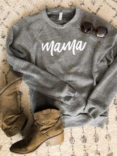 The Signature Mama Crewneck Sweatshirt Source by designtwentyfive Sweatshirt Outfit, Crew Neck Sweatshirt, Mama Bear Sweatshirt, Crewneck Sweater, Momma Shirts, Vinyl Shirts, Tee Shirts, Diy Shirt, Printed Shirts
