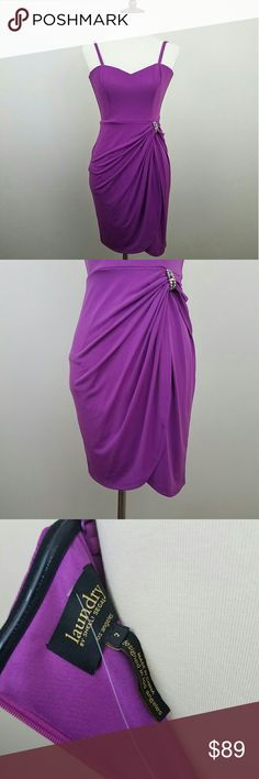 Laundry by Shelli Segal Purple Tulip Dress NWOT Laundry by Shelli Segal purple cocktail dress with tulip hem.  Sweetheart neckline with boned bust.  Removable straps, can be worn as a strapless dress.  Beautiful jewel embellishments on waist with pick up design.  Absolutely gorgeous dress!  Fully lined.  Zips up on back.  Never worn, brand new without tags!  Size 2 Laundry By Shelli Segal Dresses