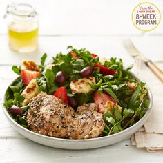 How the I Quit Sugar 8 Week Program exceeds nutritional guidelines.   Za'atar Chicken with Strawberry and Halloumi Salad