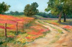 WILDFLOWER ROAD by Mary Shepard Oil ~ canvas wrap 24 x 36