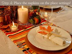 Autumn leaf napkin trim with raffia ties - for Thanksgiving or fall wedding place settings