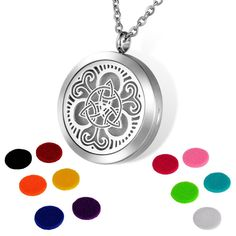 HOUSWEETY Aromatherapy Essential Oil Diffuser Necklace-Stainless Steel Locket Pendant,11 Refill Pads (Non-Engraving) * To view further, visit now : aromatherapy diffuser