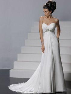 A-line Sweetheart Chiffon Bridal Gown