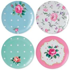 Royal Albert Vintage Mix Picnic Collection 4-Pc. Melamine Salad Plate... ($21) ❤ liked on Polyvore featuring home, kitchen & dining, dinnerware, multi, floral dinnerware, floral melamine dinnerware, royal albert, royal albert dinnerware and melamine dinnerware