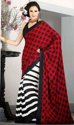 Beautiful Red/White Printed Chiffon Saree Price: Usa Dollar $66, British UK Pound £39, Euro48, Canada CA$71 , Indian Rs3564.