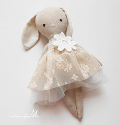 Blanche - linen bunny doll - Easter gift for girls - girl nursery decor - handmade doll - dress doll -  rag doll - textile toy