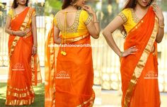 Designer saree & blouse collection from Priva Boutique. Flaunt this orange kota with gold zari to keep it low as well as bright.Price : 7500₹ yellow georgette stone studded sari finished with gold border with touch of green with Green sequins heavy work blouse.Price : 6800₹ pink malai silk pallu with rich hand work motifs combined with green sequins net for pleats, finished with yellow and gold borders. Price : 5350₹ Mint Green . Spell elegance in this beautiful drape in mint chiffon sari...