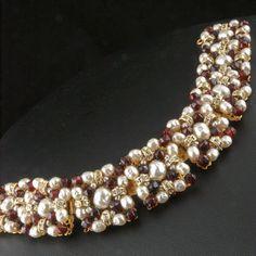 Miriam Haskell Glass Baroque Pearl *Rhinestone Rondelle *Ruby Glass Bracelet *ca 1950's