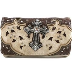 Justin West Tooled Leather Laser Cut Rhinestone Cross Studded Shoulder Concealed Carry Tote Style Handbag Purse *** Be sure to check out this awesome product.