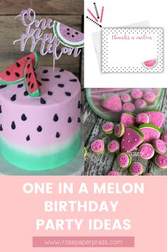 The best ideas for hosting a modern and fun One in a Melon 1st birthday featuring watermelon themed invitations, cake, cookies, outfits, party favors, decor, high chair banners, cake toppers, thank you cards and stickers, and more. Kids Birthday Themes, Birthday Invitations Kids, 1st Birthday Parties, Girl Birthday, Melon Cake, Watermelon Cookies, One In A Melon, High Chair Banner, Party Guests