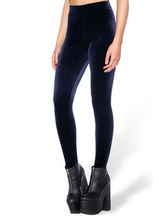 Velvet Deep Blue High Waisted Leggings (WW $60AUD / US $48USD) by Black Milk Clothing