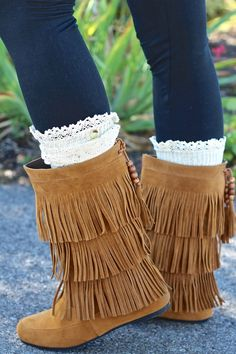 Really like the looks of these comfortable boots. - Forever Fringe Moccasin Boots (Tan)