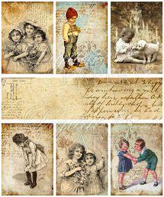 Art Ephemera digital collage sheet set of 6 by bydigitalpaper