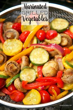 Marinated Grilled Vegetables - zucchini, squash, mushrooms, tomatoes, red bell p. Marinated Grilled Vegetables, Grilled Vegetable Recipes, Grilling Recipes, Tailgating Recipes, Grilled Vegetable Marinade, Healthy Grilling, Grilled Squash, Grilled Mushrooms, Onion Recipes