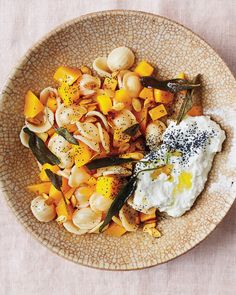 Never throw out butternut squash pulp and seeds again! Just throw them into this simple pasta dish. Ricotta and poppy seeds give it extra oomph.