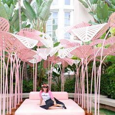 Pink palms exhibit at The Beverly Hills Hotel