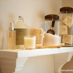Glass canisters are a great way to store soaps and bath salts