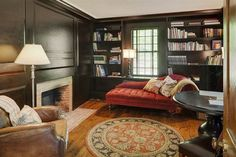 The nearly 3,500-square-foot home includes a library.