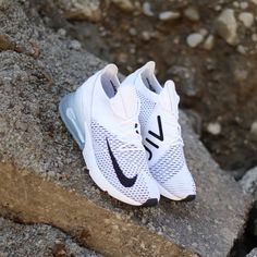 2018 Nike Air Max 270 Flyknit Women's Shoe in white, platinum and black.