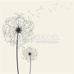 Two dandelions against neutral color Blowing Dandelion, Plant Art, Photosynthesis, Neutral Colors, Zentangle, Illustrations, Art Drawings, Palette, Bullet Journal