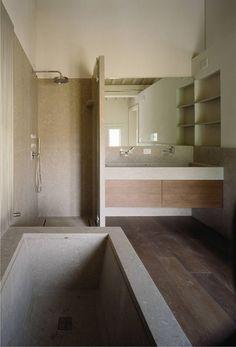 pavimento in legno e pietra di Vicenza grigia