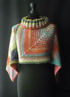 this photo shows the poncho turned differently than the pattern. I like it this way better!
