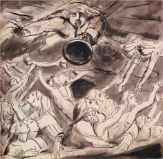 The Resurrection by English artist William Blake (1757-1827). Pencil and watercolour on paper.