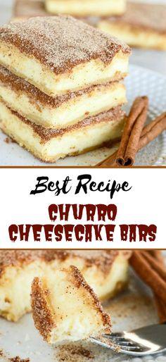 Churro Cheesecake Bars #desserts #cakerecipe