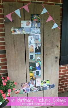 Photo collage in shape of a one on old barn door