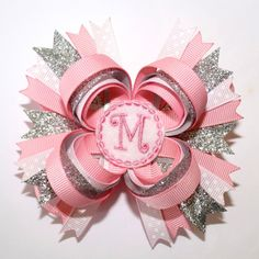 too cute.... monogram hair bows