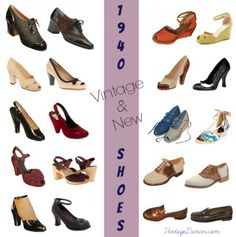 Women's modern vintage shoes come in peep toe, oxford, slingback, sandal, and wedge or wedgie styles. Retro Mode, Vintage Mode, Look Vintage, Vintage Style Shoes, Vintage Accessories, Vintage Outfits, 1940s Fashion Women, Vintage Fashion, Womens Fashion