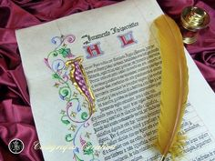 Juramento Hipocrático caligrafiado e iluminado sobre pergamino y con oro de 23 3/4 ct