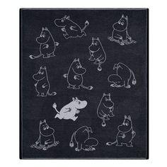 Ekelund Moomins Black / White Throw Blanket - Ekelund Moomin Throw Pillows and Blankets