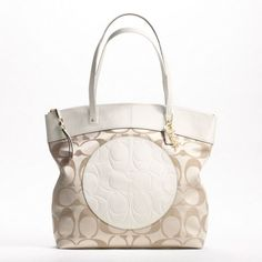 Coach Laura Signature Tote Bag 18335 Light Khaki/White