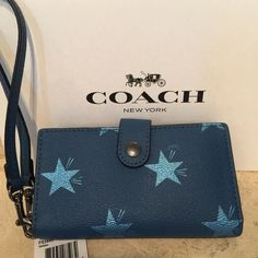 Coach Blue Star Phone Clutch F53440 brand new!!! box and gift bag included Coach Bags Clutches & Wristlets