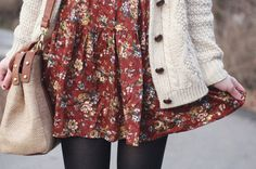 Sweater and floral dress