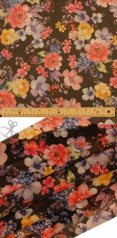 Large and medium sized flowers of all types decorate this print on top of a crisp, black background. Hi Multi Chiffon is a lightweight, stylish and free flowing fabric. It is a great material for layered dresses, blouses, scarves, wraps, DIY hairpieces, even chair decorations and much more!