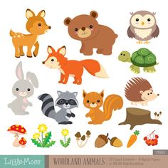 Woodland Animals Digital Clipart and Papers by LittleMoss on Etsy