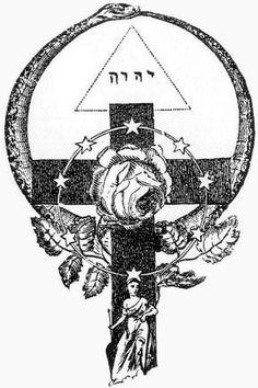Croix rosicrucienne avec le symbole de l'Ouroboros et, dans un triangle, le nom de Dieu écrit en hébreu (Yahweh).