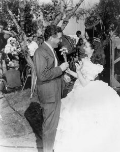 On the set of Gone with the Wind:  David O Selznick and Vivien Leigh
