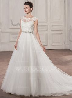 Ball-Gown Scoop Neck Chapel Train Tulle Wedding Dress With Beading Appliques Lace Sequins (002058759)