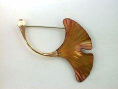 Ginkgo Leaf Pin, Copper.