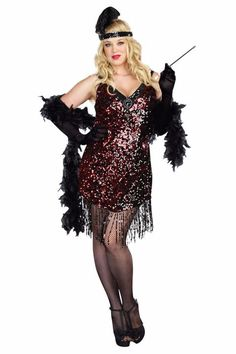 Sexy Plus Size Halloween Costumes for Women Plus Size Flapper Costume Plus Size Flapper Costume, 1920s Costume, Plus Size Costume, Costume Dress, Costume Makeup, Plus Size Halloween, Fantasia Plus Size, 1920s Fashion Dresses, Flapper Dresses