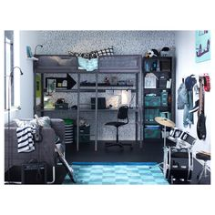 A youth room that is decorated in blue, dark gray and silver, with TUFFING loft bed in dark gray with a desk underneath and drums in the corner Ikea Loft, Bed With Desk Underneath, Kids Bedroom, Bedroom Decor, Bedroom Ideas, Loft Bed Frame, Bunk Bed Designs, Loft Spaces, My New Room