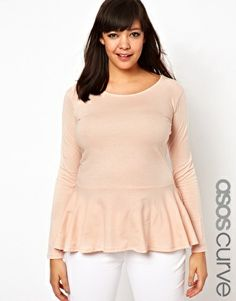 3dd830b4b79 Image 1 of ASOS CURVE Exclusive Peplum Top in Soft Jersey with Sleeves  Curvy Outfits