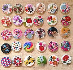 """Nicedeco Pack of 100pcs Designed Round Shaped Painted 2 Hole Wooden Buttons (Diameter 0.59""""(15mm*15mm) Color Random Shipments) Super Fantastic Nicedeco http://www.amazon.com/dp/B00N4R0KU6/ref=cm_sw_r_pi_dp_hj7Vwb0NWY7CS"""