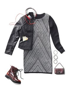 How2 turn a sweater dress into a knockout look. Boots and cozy accessories make up an easy, fall-weekend-adventure outfit.