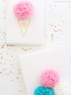 DIY Eis-Pompoms Geschenkverpackung   DIY Ice Cream Pompoms Gift Wrapping